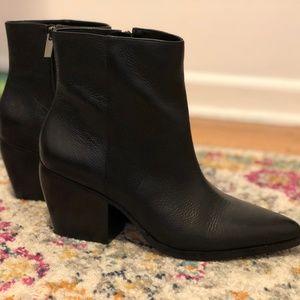 Black Block Heel Bootie, Pointed Toe